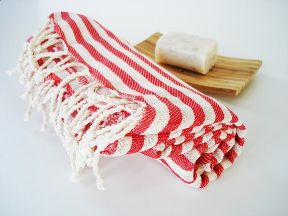 Turkish BATH Towel Peshtemal - Red