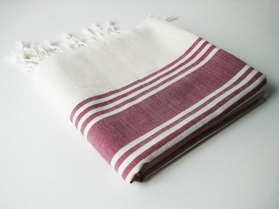 Turkish BATH Towel Peshtemal - Bamboo and Cotton - Clared red