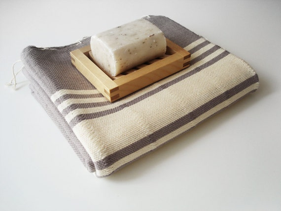 Turkish BATH Towel Handwoven Peshtemal - SOFT - Gray (No2)