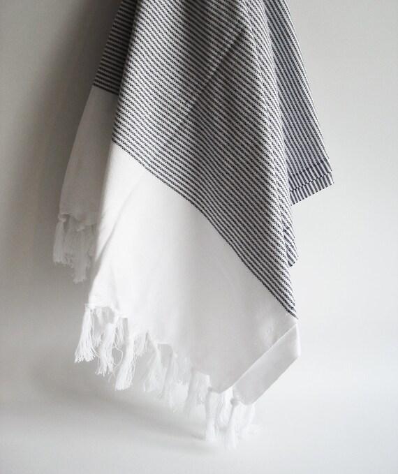 Turkish BATH Towel Peshtemal - Cotton Black Striped