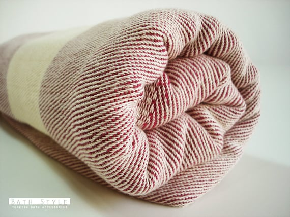 Bathstyle Turkish BATH Towel Peshtemal and Peshkir Set - SOFT - Claret Red
