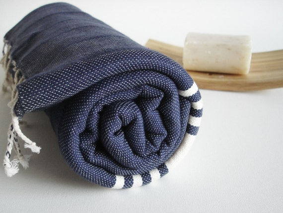 Shipping with FedEx - Bathstyle Turkish BATH Towel Handwoven Peshtemal - Navy Blue