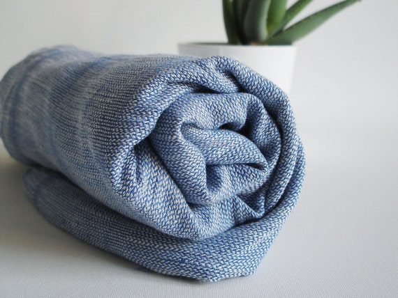 Turkish BATH Towel Handwoven Peshtemal - LINEN - Denim Blue