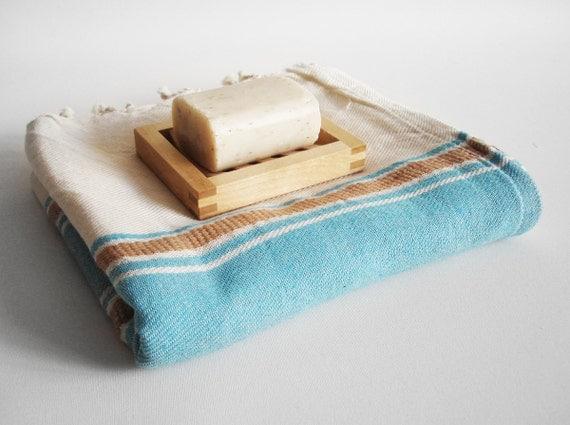 Bathstyle Turkish BATH Towel Handwoven Peshtemal - Crystal Blue