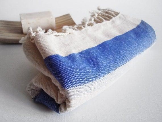 Turkish BATH Towel Peshtemal - LINEN - Parliament Blue