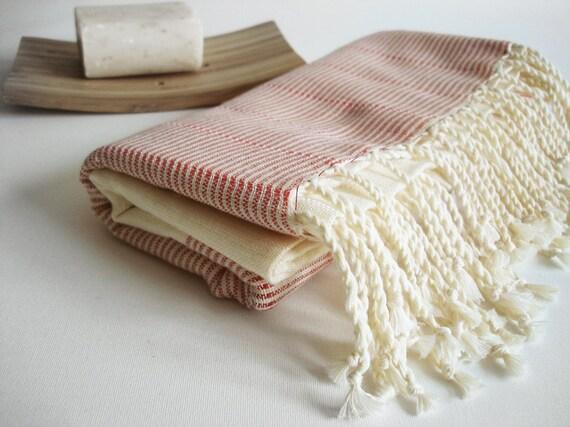 Turkish BATH Towel Handwoven Peshtemal - LINEN - Red
