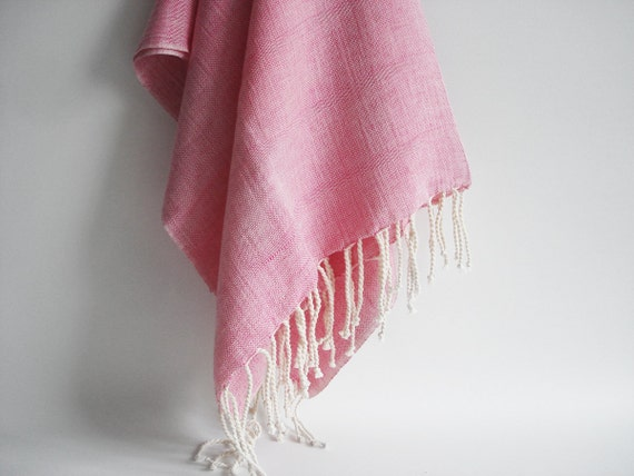 Shipping with FedEx - Turkish BATH Towel Handwoven Peshtemal - Linen - Candy-Pink