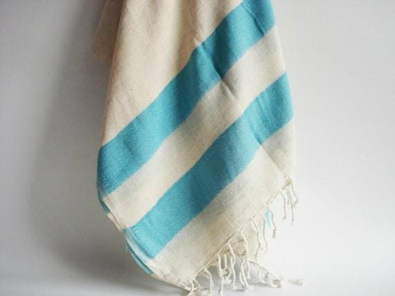 Turkish BATH Towel Peshtemal - LINEN - Turquoise
