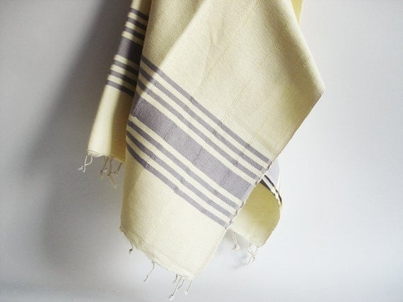 Bathstyle Turkish BATH Towel Handwoven Peshtemal - SOFT - Light Yellow - Gray Striped