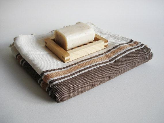 Turkish BATH Towel Handwoven Peshtemal - Brown Color