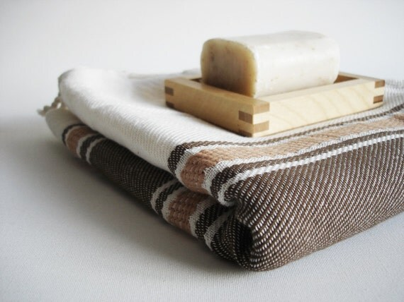 SALE 20 OFF // Turkish BATH Towel Handwoven Peshtemal - Brown Color