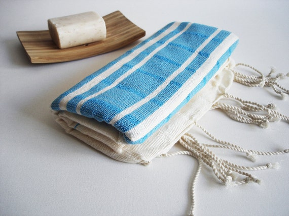 The BEST Quality Turkish BATH Towel Peshtemal -  Bamboo - Sky Blue