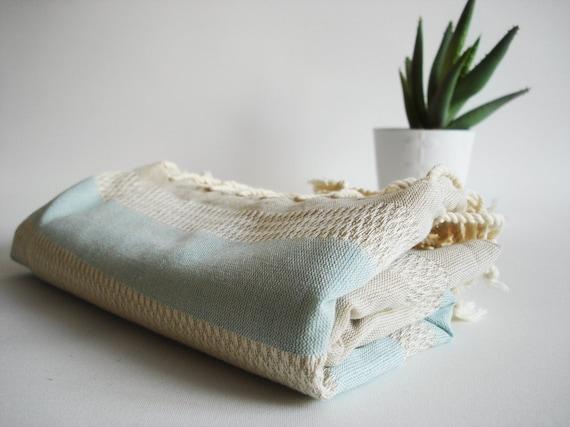 Bathstyle Turkish BATH Towel Peshtemal - LINEN - Blue Striped