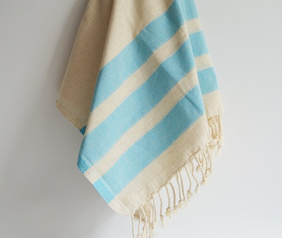 Bathstyle Turkish BATH Towel Peshtemal - LINEN - Crystal Blue Striped