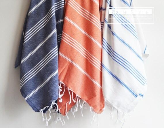 Turkish BATH Towel - Classic Peshtemal - White (blue striped)