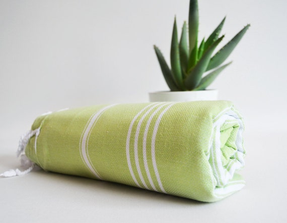 SALE 50% OFF - Turkish BATH Towel - Classic Peshtemal - Green No:1 (white striped)