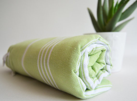 SALE  20% OFF // Turkish BATH Towel - Classic Peshtemal - Green No:1 (white striped)