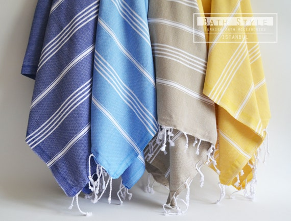 Turkish BATH Towel - Classic Peshtemal - Navy Blue No:1 (white striped)