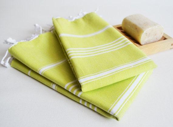 SET 2 Head and Hand Towel Peshkir - Green No:1 (white striped)