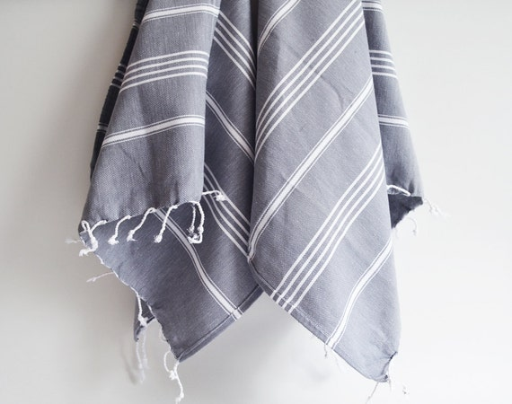 SET 2 Head and Hand Towel Peshkir - Gray (white striped)
