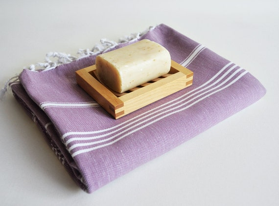 Turkish BATH Towel - Classic Peshtemal - Light Purple (blue striped)