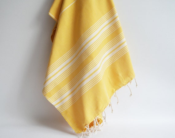 Turkish BATH Towel - Classic Peshtemal - Yellow (white striped)