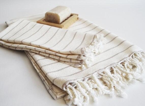 SET - Turkish BATH Towel Peshtemal and Peshkir Set - SOFT Bamboo (Gray striped)