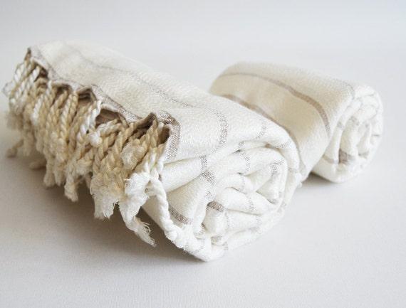 SET - Turkish BATH Towel Peshtemal and Peshkir Set - SOFT Bamboo and Cotton