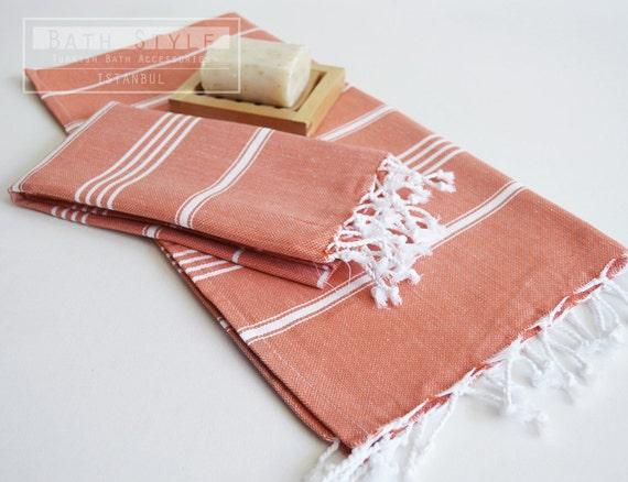 SET 2 Head and Hand Towel Peshkir - Dirty Orange (white striped)