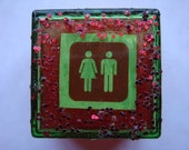 Little Pill Box- Red and Green with Male Female Unisex Bathroom Sign and Red Glitter