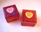 Valentines Day Glitter Trinket Boxes, Set of 2, Conversation Hearts, Pink and Orange, His and Hers Pill Box
