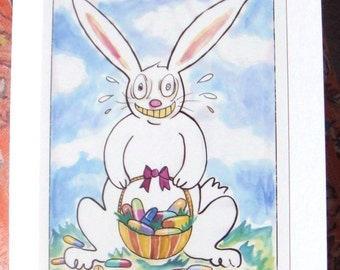 Weird Easter Card, Funny Bunny, White Rabbit with Pills, Blank 5x7 Greeting Card