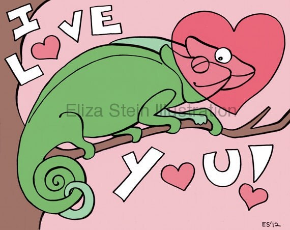 Chameleon I Love You Card, Cute Valentines Day Greeting Card, Lizards in Love, 5x7 Blank Card, Valentine Card
