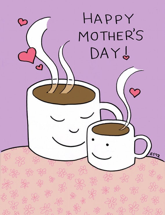 Mothers Day Card, Coffee with Mom, Unique Blank Greeting Card, 5x7, A7 Lilac Purple Card