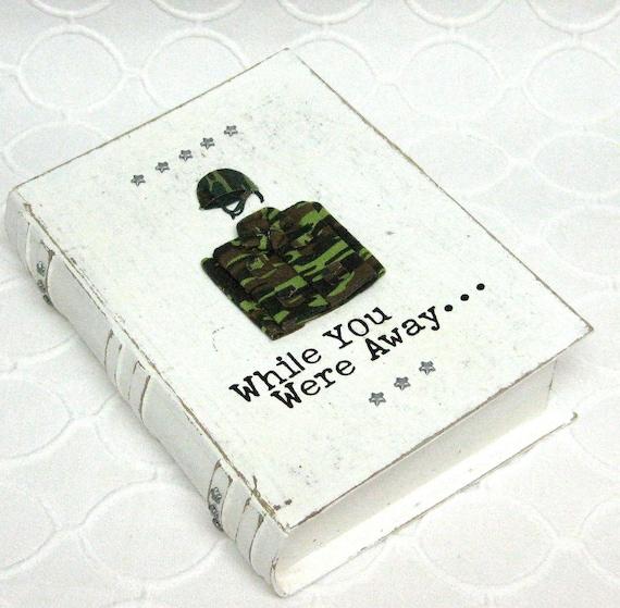 Memory Keepsake Book Box for Your Soldier-Military-Veterans day-Vintage Inspired-Light Khaki