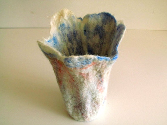 Wet felt vase: White Icelandic wool with dyed merino and silk