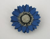 Blue leather flower brooch&hairpin