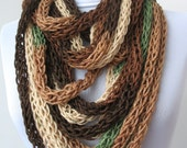 20% OFF SALE - Scarf necklace - loop scarf - infinity scarf - neck warmer - hand knitted - cashmere -green,brown,ivory  (WAS 48)