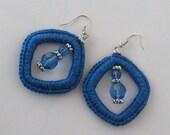 Blue Crochet Rhomb Earrings
