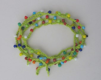 CLEARANCE SALE - Colorful crocheted necklace / bracelet with delicate beads
