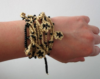 CLEARANCE SALE - Gold crocheted necklace / bracelet / belt with black delicate beads