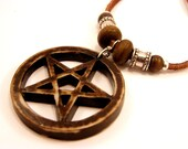 Tribal Yak Pentacle/Pentagram Carved Bone/Resin Leather Necklace