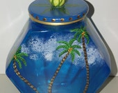 Signed Hand painted Art Candle Glass Vase Beach Ocean Seascape Whimsical