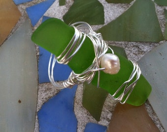Sea Green Seaglass Ring - green seaglass, pearl and silver wire wrapped ring - size 7-8