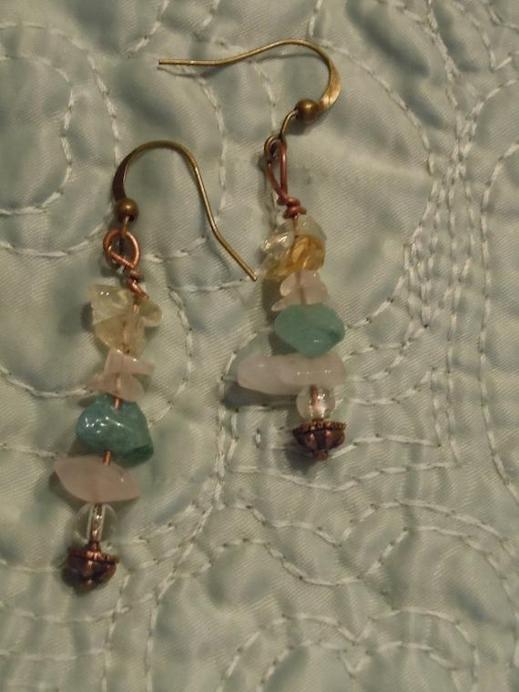 Harmony Citrine and Clear Quartz Antique Bronze Earrings