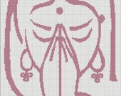 Handmade Cross Stitch Pattern Indian Woman Namaste Poster Picture PDF