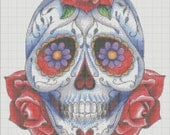 Handmade Sugar skull day of the dead Counted Cross Stitch Pattern PDF Hand Embroidery Needle Point