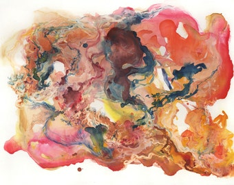 Almacantar II / giclee print / multiple sizes / warm / fire / nebula / constellation / star / space / organic / watercolor / abstract art