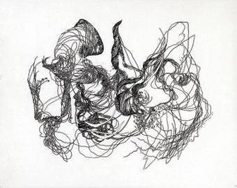 """Illuminate Aria inside a thousand leaves / giclee print / 11"""" x 8.5"""" / abstract drawing / organic / nature / plants / botany / science /"""