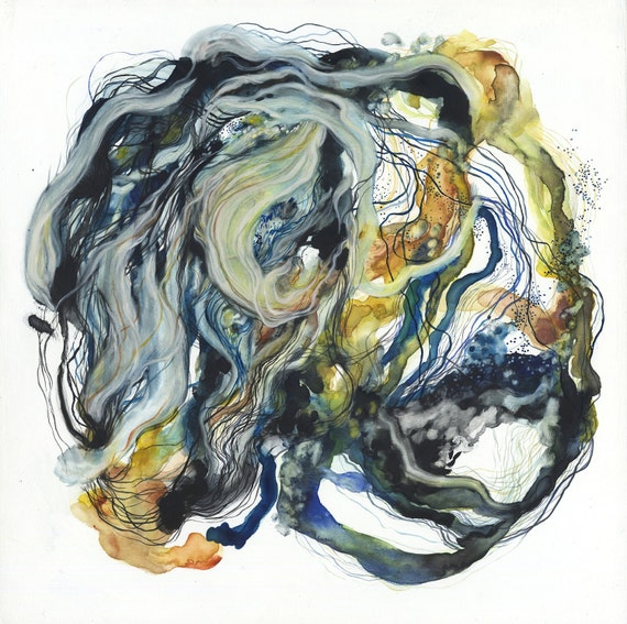Coil I / Giclee print / abstract watercolor / organic painting / blue / black / yellow / nature / botanical / flower